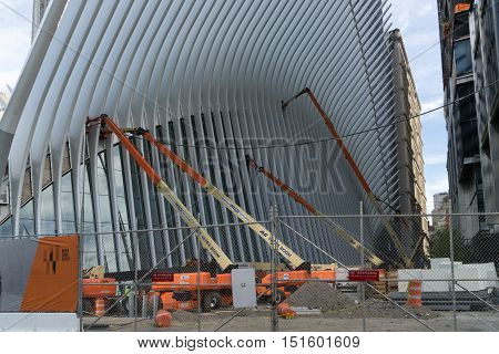 New York USA - September 21 2015: Future Transport Terminal which is now being built under the project of Calatrava on the site of the World Trade Center in New York City.