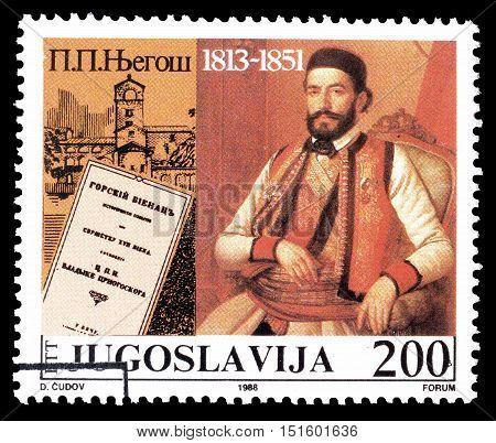 YUGOSLAVIA - CIRCA 1988 : Cancelled postage stamp printed by Yugoslavia, that shows Petar Petrovic Njegos.