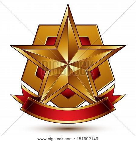 3d golden heraldic blazon with red filling and glossy pentagonal star best for web and graphic design