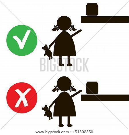 Stop or ban sign with child icon isolated on white background. Children are prohibited vector illustration. Kid is not allowed image. Babies are banned.