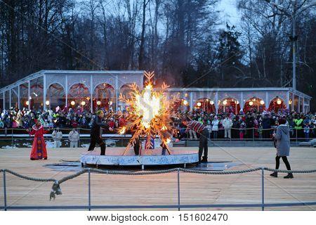 MOSCOW - MAR 12, 2016: Ritual burning of winter at Shrovetide in Sokolniki Park