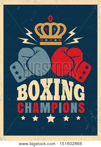 Vector vintage poster for boxing with gloves and crown