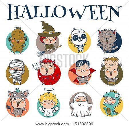 Vector set icons children with costumes for Halloween