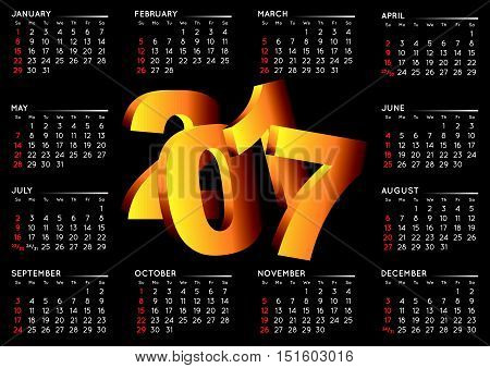 2017 black calendar in english. Year 2017 calendar. Calendar 2017. Week starts on sunday