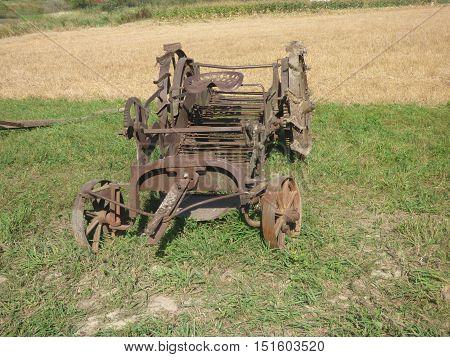 An old abandoned horse drawn potato digger.