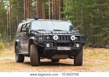 Black Hummer H2 Car In Forest