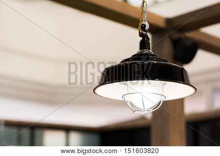 Close up of black lamplight with copy space for text. shallow depth of field.