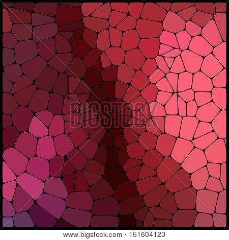 Abstract Mosaic Pattern Consisting Of Red And Pink Geometric Elements Of Different Sizes And Colors.