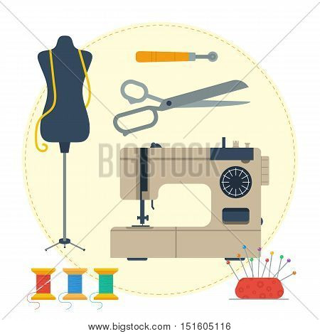 Vector round concept tailoring equipment. Handicraft tools, dummy, scissors and sewing machine in flat style