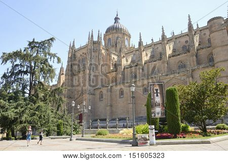 SALAMANCA, SPAIN - AUGUST 3, 2016: People around the New Cathedral in Salamanca Spain