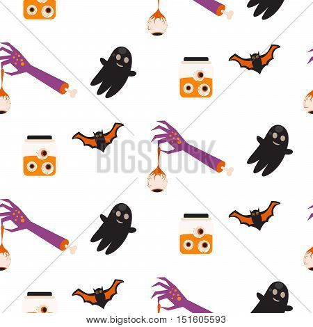 Halloween vector seamless pattern. Flying bats and ghost, zombie hand holding eye, jar.