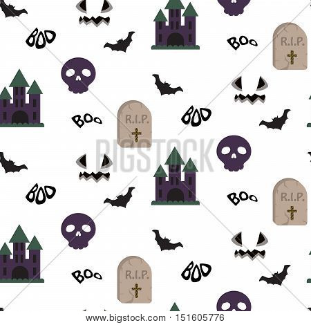 Cartoon spooky halloween vector seamless pattern. Tombstone, flying bats, skulls and purple scary castle repeating background on white.