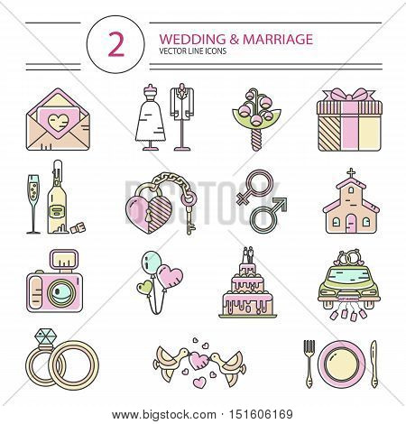 Vector modern line vector photo free trial bigstock vector modern line style icons set of wedding or marriage invitation bridal bouquet stopboris Images