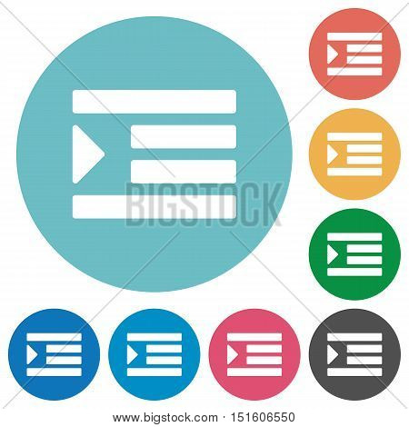 Flat Increase text indent icon set on round color background.