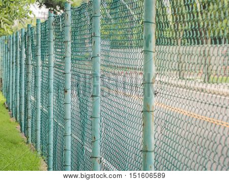 Blue fence mesh netting, Private property, Selective focus