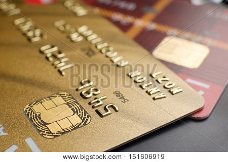 Plastic payment cards with chip close up