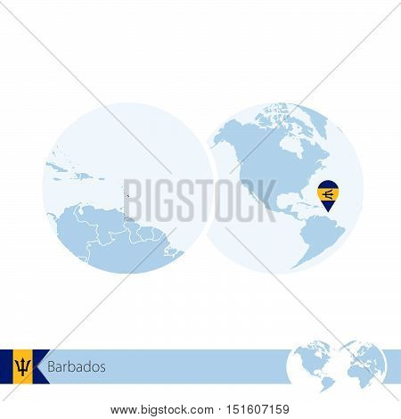Barbados On World Globe With Flag And Regional Map Of Barbados.