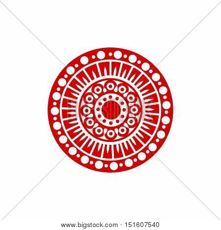 Red geometric mandala logo design for yoga club or company id. Isolated icon