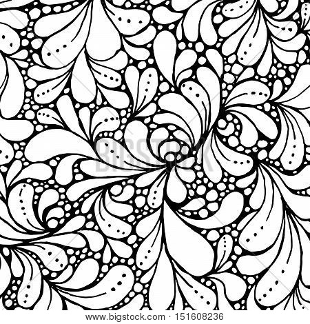Coloring book page design with floral petals. Ethnic ornament. Vector illustration in doodle style. Headwear or neckwear Pattern design. Fashion backdrop