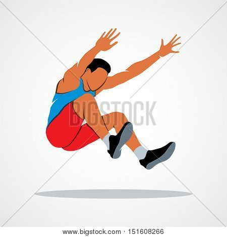 Long jump trajectory The athlete jumps. Branding Identity Corporate logo design template Isolated on a white background. illustration.