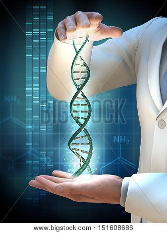 Scientist holding a dna helix between his hands. 3D illustration.