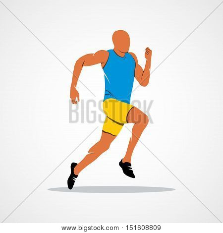 Runners on short distances sprinter Branding Identity Corporate logo design template Isolated on a white background. illustration.