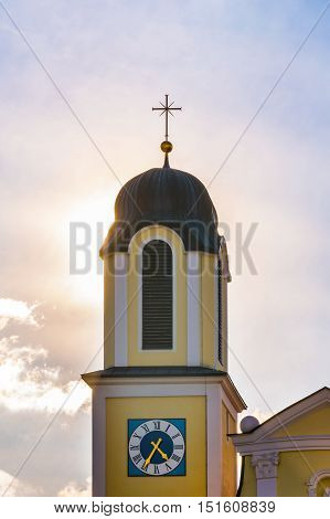Backlit Church Steeple Sunshine Sunrays Warm Sky Architecture Exterior Worship Holy Catholic Christian