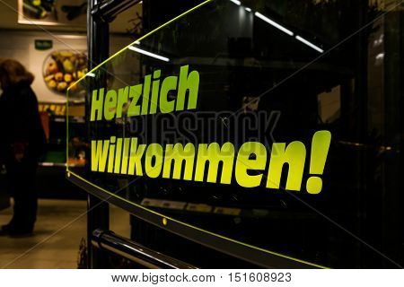 Herzlich Willkommen Entrance German Hello Grocery Store Transparent Gate Automatic Store Inside