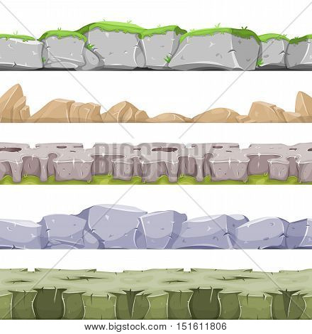 Illustration of a set of seamless mountains range with patterns of rock stones and hand made mountains relief for game user interface
