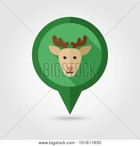 Deer flat pin map icon. Map pointer. Map markers. Animal head vector illustration eps 10