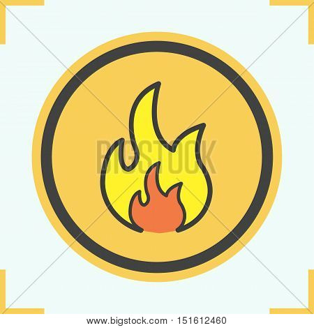 Flammable sign color icon. Flame danger symbol. Burning fire. Isolated vector illustration