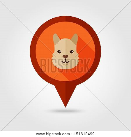 Lama alpaca guanaco flat pin map icon. Map pointer. Map markers. Animal head vector symbol eps 10
