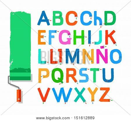 Font paint roller, Spanish alphabet, capital letter, color. Vector letters written with a paint roller and paint on a white background. Simulated texture.