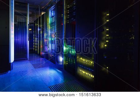 fantastic view of the mainframe in  data center rows