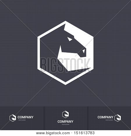 Stylized Dark Horse Head for Mascot Logo Template on Dark Background