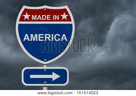 American Made in America Highway Road Sign Red White and Blue American Highway Sign with words Made in America with stormy sky background 3D Illustration