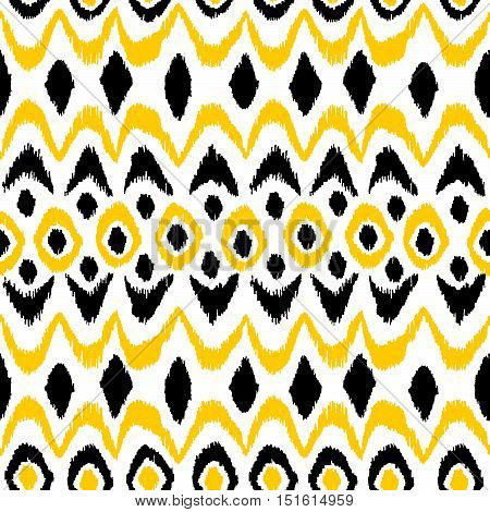 Ikat seamless damask pattern. Black and yellow elements on a white background. Handmade. Print for your textile. Vector illustration.