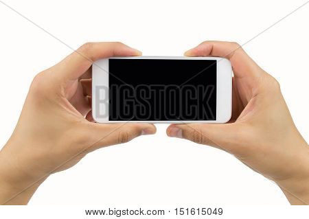 hand holding a modern smartphone with white background