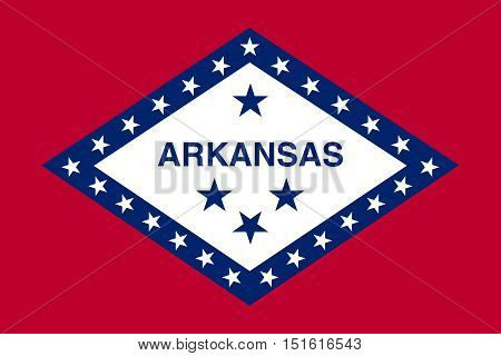 Arkansan official flag symbol. American patriotic element. USA banner. United States of America background. Flag of the US state of Arkansas correct size proportions and colors vector illustration