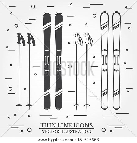 Set of skiing equipment silhouette icons. Set include skis and ski poles . Winter equipment icons for family vacation, activity or travel. For logo design, patches, seal, logo or badges. Thin line icon.