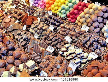 Sweets on Boqueria market in Barcelona city