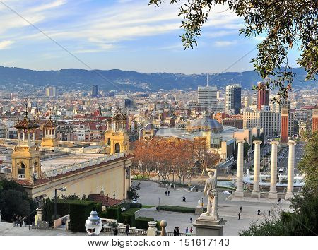 BARCELONA - DECEMBER 20: Square of Spain in downtown of Barcelona on December 29 2014. Barcelona is major city and capital of Catalonia.