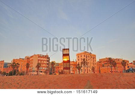BARCELONA - DECEMBER 25: View of Barceloneta district of Barcelona city on December 25 2014. Barcelona is the secord largest city of Spain.
