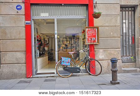 BARCELONA - JANUARY 31: Bike parked in the shopping street of Barcelona city on January 31 2015.