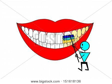Cartoon man brushing teeth with a paste brush. Yellow teeth become white. Vector illustration