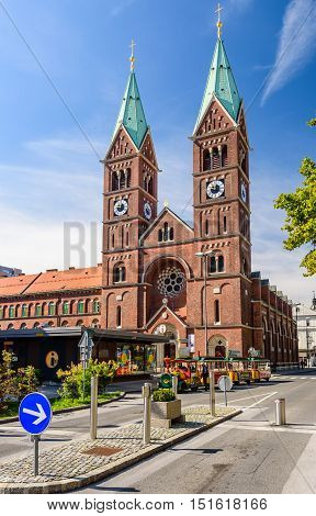 Maribor, Slovenia - September 23, 2016: Franciscan church, tourist and cultural attraction in Slovenia.