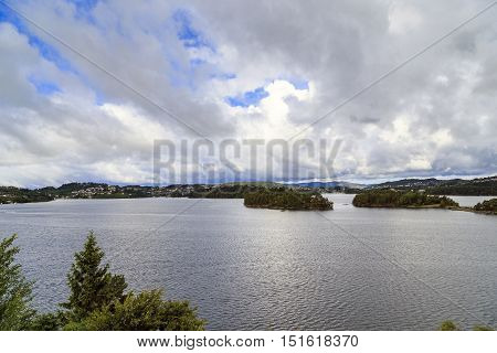 This lake Nordasvatnet in Bergen city suburb on the bank of which was the manor summer residence of the composer Edvard Grieg.