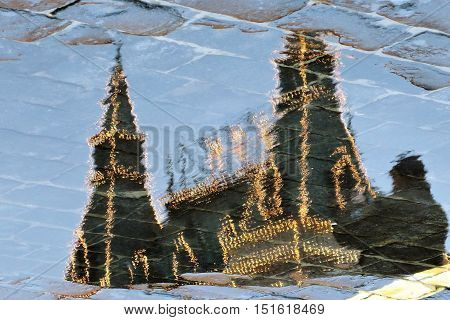 GUM on the Red Square in Moscow. Abstract refleciton