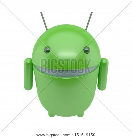 green smiling robot android isolated on white background .3D illustration