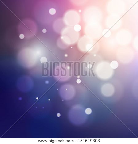Blue And Pink Bokeh Glitter Retro Defocused Lights Abstract Background, Vector Illustration